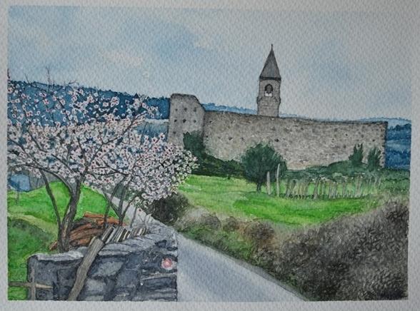 krajina, akvarel, 2016