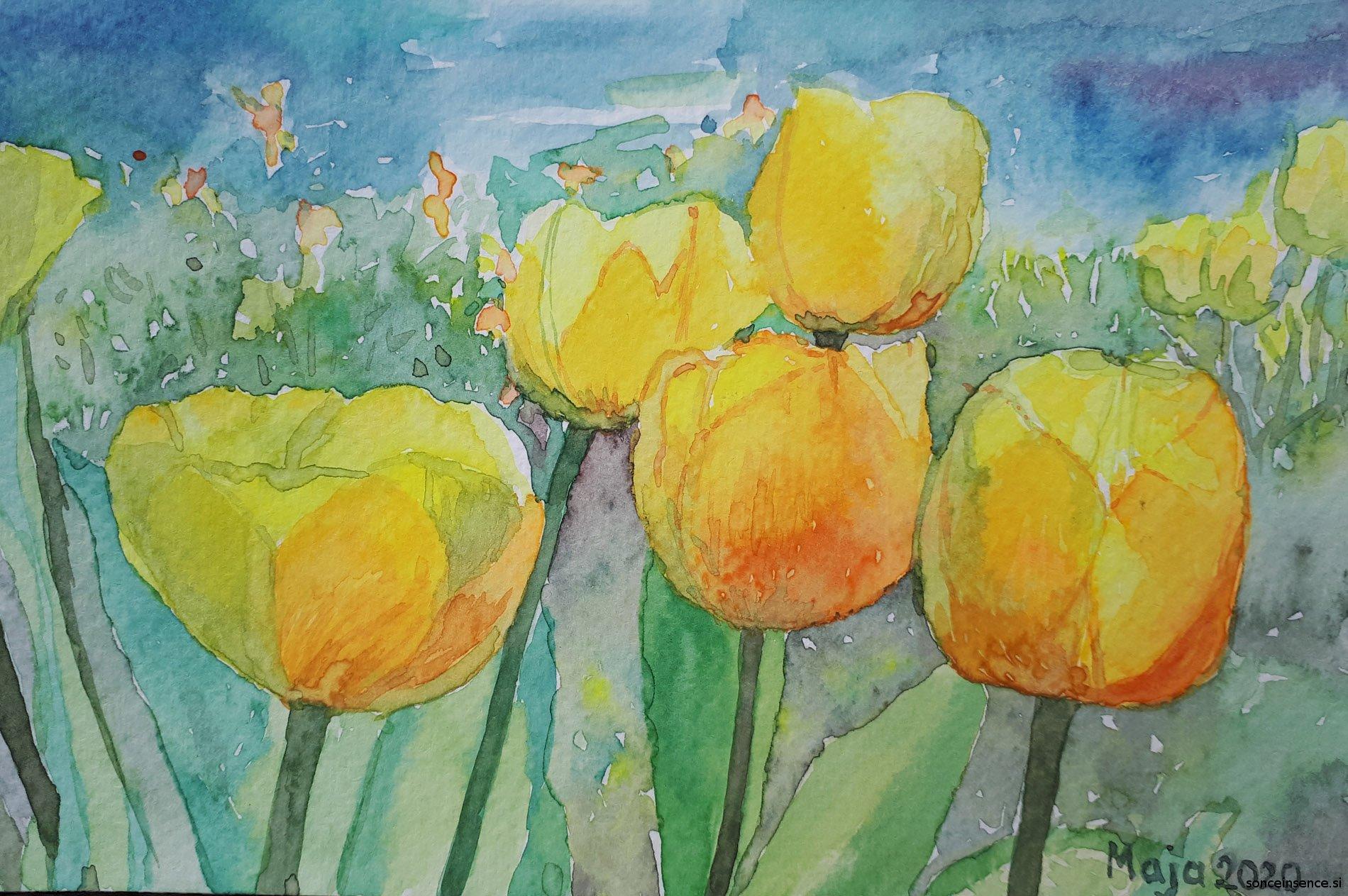 rože, 2020, akvarel