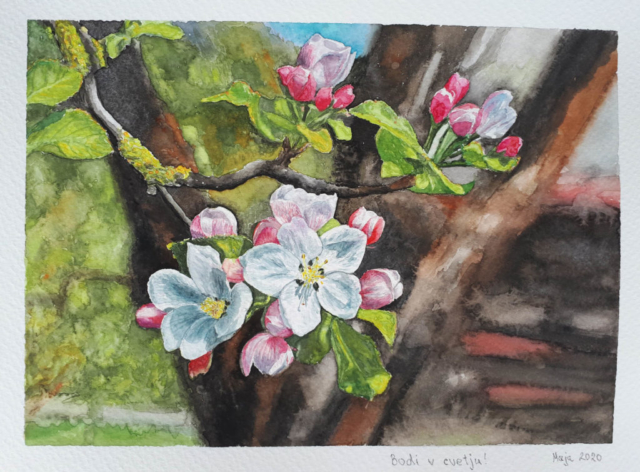 akvarel 2020, roze, 20x30 cm
