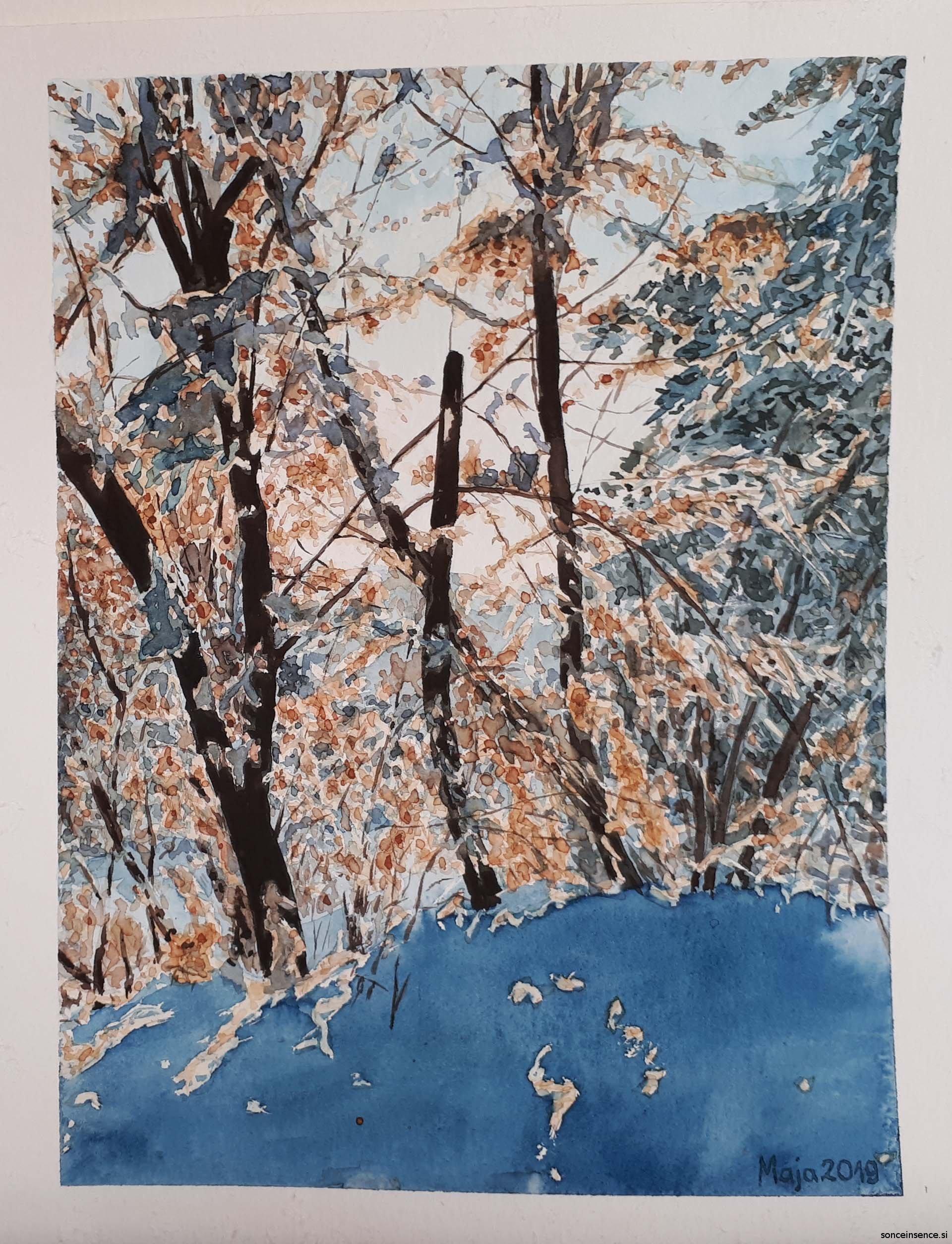 akvarel, 2019, zimska krajina
